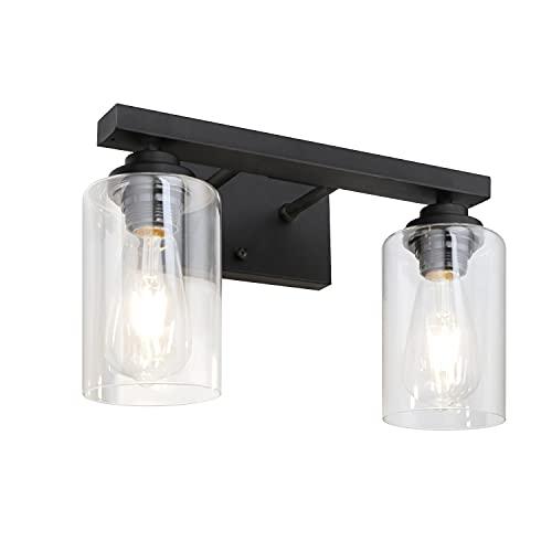 LynPon Aplique de pared negro de 2 luces vintage industrial, lámpara de pared con pantalla de vidrio transparente, base de metal, luces de tocador de baño, accesorio de iluminación para pasillos