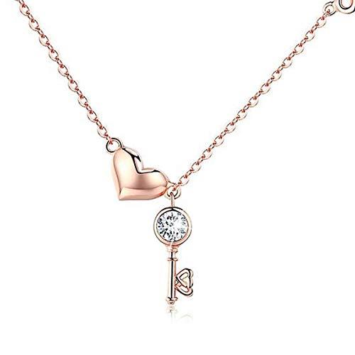 Collana donna in argento sterling 925, collana con pendente a chiave a cuore in oro rosa con pendente a forma di cuore Gioielli per regalo di compleanno festa della mamma per ragazze 14,4'+3'