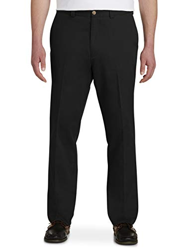 Harbor Bay by DXL Big and Tall Waist-Relaxer Pants, Black, 36L 36