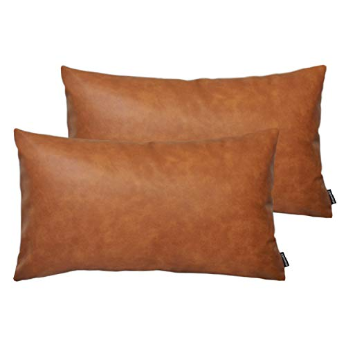HOMFINER Faux Leather Lumbar Throw Pillow Covers for Couch Bed Sofa Decorative, 12x20 Set of 2 Thick Modern Farmhouse Boho Small Long Accent Scandinavian Decor Rectangle Cushion Cases Cognac Brown