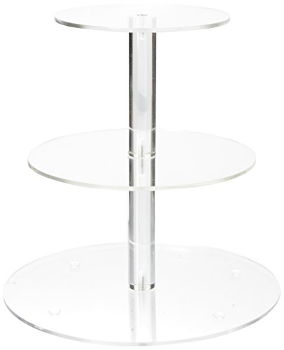 YestBuy 3 Tier Round Cupcake Stand with Base, Acrylic Cake stand, Cupcake Tower Stand, Premium Cupcake Holder For 28 Cupcakes, Display for Pastry Wedding Birthday Party (4.7