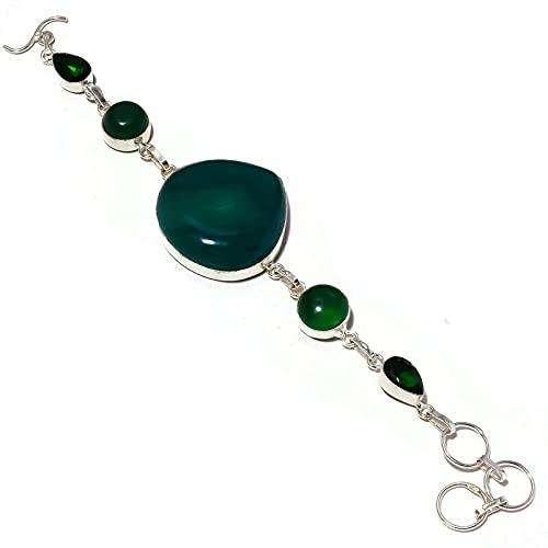 Cabochon Green Onyx, Diopside Glass Gemstone Pulsera chapada en plata hecha a mano