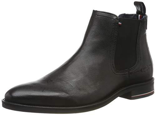 Tommy Hilfiger Herren Signature Leather Chelsea Hohe Sneaker, Schwarz (Black Fm0fm02421-990), 43 EU