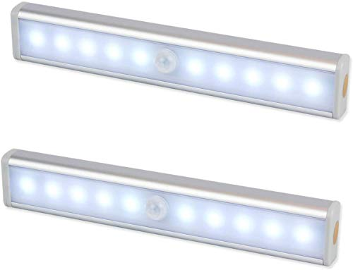 Luz Nocturna,Sensor de Movimiento 10 LED Alimentado Por Batería Sensor de Luz Interior Luz LED de Armario,Para Armario,Pasillo,Escalera,Sótano,Cocina,Garaje,Gabinete,Baño(2 Pack)