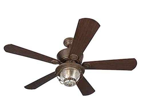 Merrimack 52-in Antique Bronze Downrod Mount Indoor/Outdoor Ceiling Fan with Light Kit and Remote