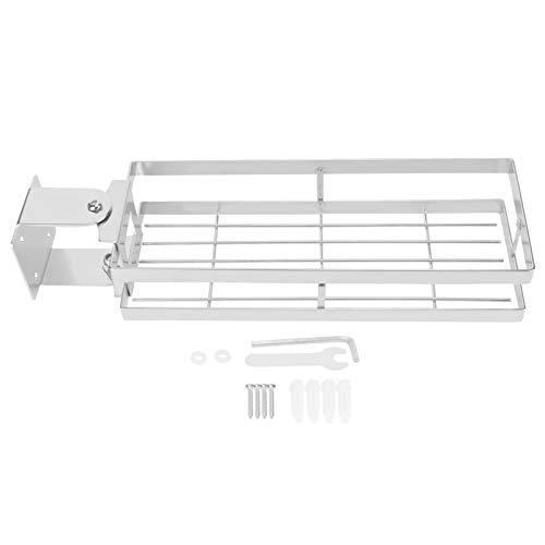 Estante de especias montado en la pared, Organizador de especias de cocina giratorio de 180 °, Estante de condimento de pared de acero inoxidable para ahorrar espacio, Accesorios almacenamiento(Plata)