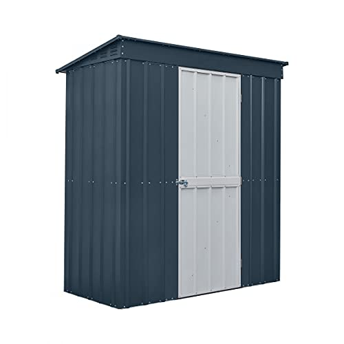 Globel 6ft x 3ft Pent Grey with White Single Hinged Door 6x3 Anthracite Metal Shed