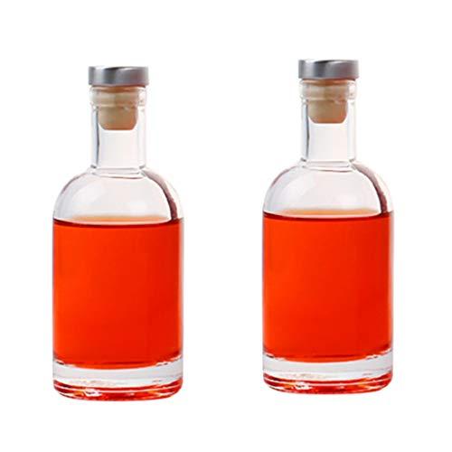 Angoily 2 Piezas de Vidrio Vodka Licor Botella de Vidrio Transparente Vino Whisky Decantador Botella para Vino Whisky Brandy Licor Agua- 200Ml