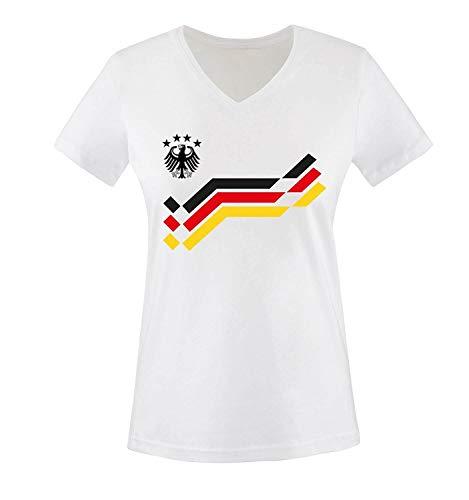 EM 2016 - Retro-Trikot - Deutschland - 12 - Damen V-Neck T-Shirt - Weiss/Schwarz-Rot-Gelb Gr. M