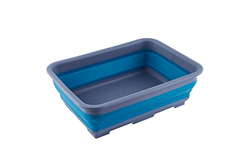 Ahyuan Collapsible Dish Pans Portable Washing Basin Dish Pan Foldable Strainer Wash and Drain Dish Tub Drainer Basket Over The Sink Dish Drainer Sink Colander for RV, Camping, Marine, BBQ (Blue)