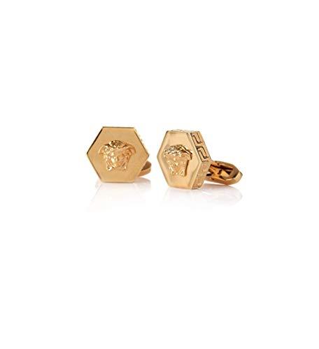 Versace Herren-Manschettenknöpfe, sechseckig, Medusa, Gold