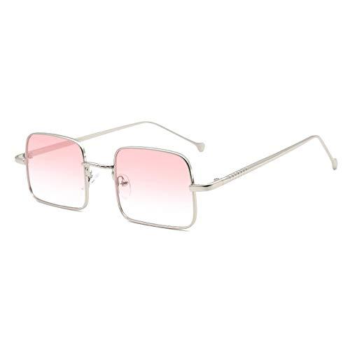 WHSS gafas de sol Nuevo Plata Frontera Pequeña Gafas De Sol Femenino Cuadrado Retro Conducción Hombres UV400 Protección (Color: Rosado)