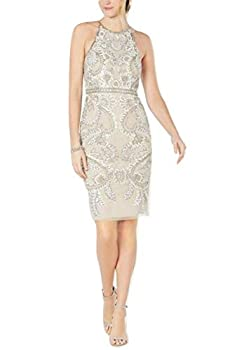 Adrianna Papell Women s Chic Beaded Floral Short Dress Biscotti 6