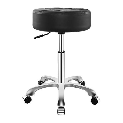 Rolling Adjustable Stool for Work Medical Tattoo Salon Office,Heavy Duty Esthetician Hydraulic Chair Stool with Wheels (Black)