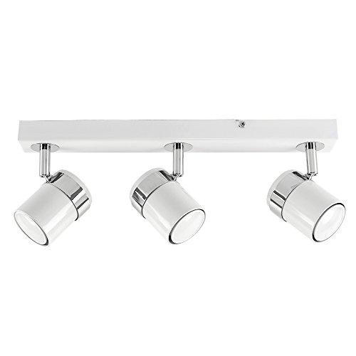 MiniSun - Plafoniera moderna su binario con 3 luci spot orientabili e finitura bianca lucida - sistema di illuminazione su binario