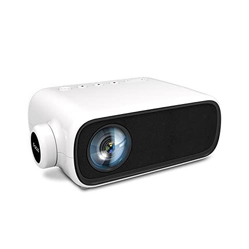 LXLTL Mini Proiettore, 1080P Full HD Supportato Home Theater Compatibile Disco U Leggibile, Disco Rigido Mobile, Cavo AV con Dvd, Set-Top Box,Bianca