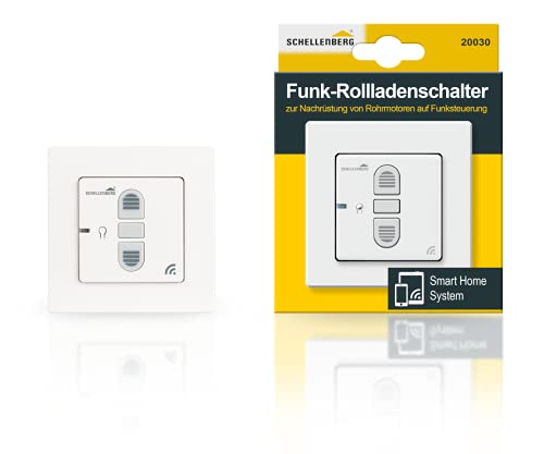 Schellenberg 20030 Smart Home Funk-Rolladenschalter & Funk-Raffstoreschalter, nachrüstbar für Smarte Antriebe, Weiß