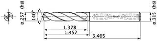 Mitsubishi Materials MVS0653X03S080 Solid Carbide Drill, Internal Coolant, 3 Hole Depth, 6.528 mm Cutting Diameter, 1.2 mm Point Length, 8 mm Shank Diameter
