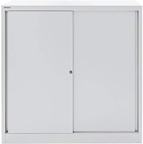 BISLEY Schiebetürenschrank ECO, 2 Fachböden, 3 OH, Metall, 645 Lichtgrau, 43 x 120 x 118.1 cm