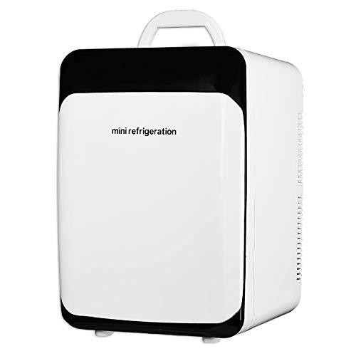 Pkfinrd Mini-Kühlschrank 18L Schwarz-Weiß-Dual-Core-Kühlwagen Dual-Nutzung Mini-Kühlschrank Kleine Haushalts-Kühlschrank-Studentenwohnheim-Einzeltür-Heiz- und Kühlkasten