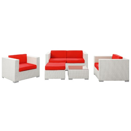Hot Sale LexMod Malibu Outdoor Wicker Patio 5 Piece Sofa Set In White with Red Cushions