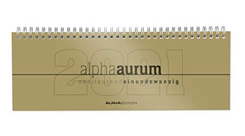 Alpha Edition - Agenda Settimanale Spiralata Da Tavolo 2021, Formato Grande 29,7x13,5 cm, Alpha Aurum