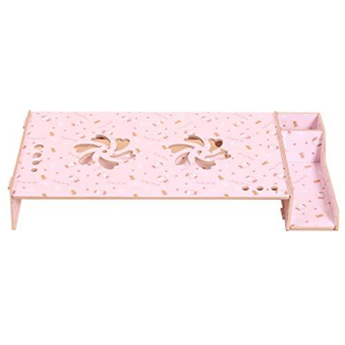 MUYUNXI Laptop Koeling Verhoogde Stand/Monitor Houten Basis Beugel Roze Kat Patroon