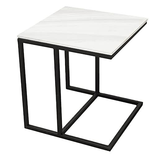 SUBBYE tavolino Salotto Soggiorno Giardino Stile Britannico Ferro Battuto Tavolino con Piano in Marmo, A Forma di C Tavolo per Laptop per Divano Divano Letto - Altezza 50 Cm, Comodino Quadrato