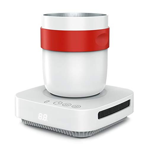 Cooling and Warmer Mug, 2 in 1Beverage Cooling Cup, Desk Cup Warmer with Automatic Shut Off, Waterproof and Easy to Clean, Beverage Warmer with Mug