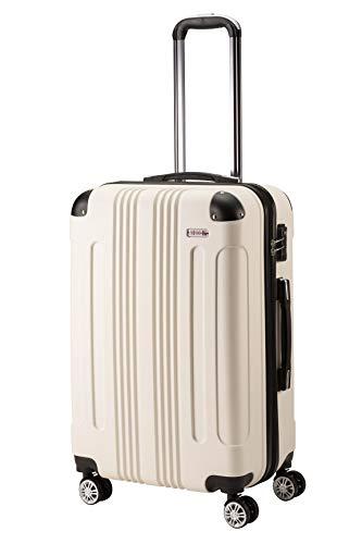 (ムーク)M∞K 超軽量スーツケース TSAロック付き 機内持ち込みSサイズ~Lサイズ (Mサイズ, ホワイト)
