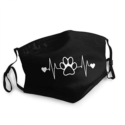 Paw Print Heartbeat Logo Face Mask with Nose Wire Filter Pocket for Men Women Scarf Cover Black