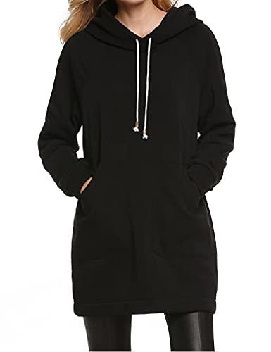 Qearl Women Autumn Loose Warm Pocket Pullover Hoodie Tunic Sweatshirt (M, Black)