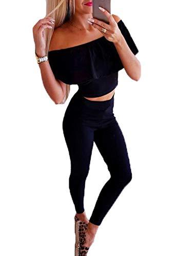 ZhiWanTing Damen 2 Teiler Casual Outfit Schulterfrei Oberteil Crop Top +Lang Hose Schwarz L