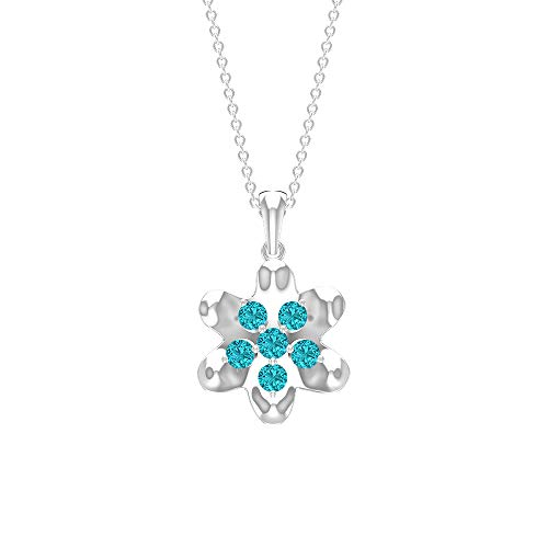 Custom 1/2 CT Lab Created Green Paraiba Tourmaline Pendant, Flower Necklaces, Gold Engraved Pendant, Paraiba Tourmaline Cluster Pendant (AAAA Quality), 18K White Gold