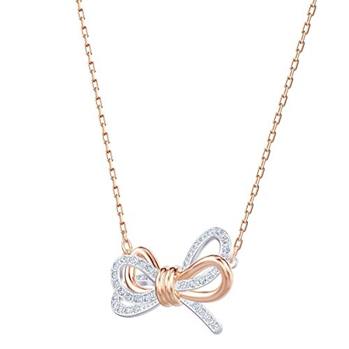 Swarovski Women's Lifelong Bow Necklace, Finely Cut Stones in White with a Rose-Gold Tone Plated Chain, from the Swarovski Lifelong Bow Collection