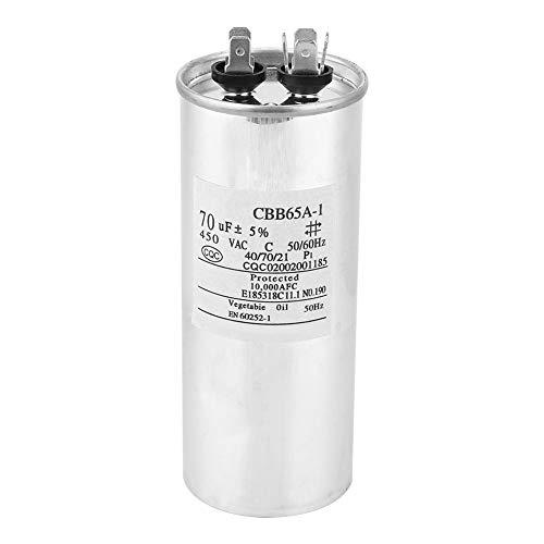 Condensador de arranque CBB65 70UF 450V, carcasa de aluminio Compresor de aire acondicionado Motor Condensador de funcionamiento de conducción