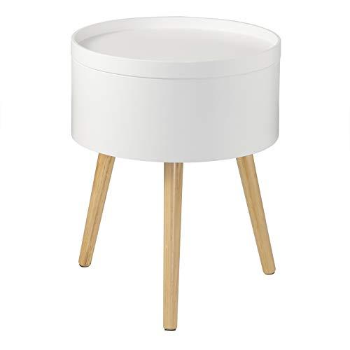 EUGAD 0075ZZ Nachttisch Beistelltisch mit Stauraum Nachtkommode Nachtschrank Holzbeine MDF 38x38x48,5cm Weiß