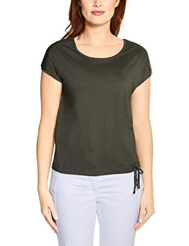 Cecil Damen 314828 Solid Smock Shoulder T-Shirt, Simply Khaki, Large