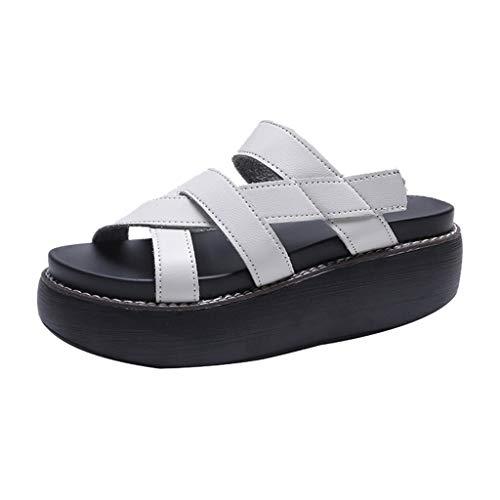 LHWY Sandalias Plataformas Mujer Verano Antideslizantes Cuero Zapatillas Casual Zapatos de Playa y Piscina (41EU, Blanco)