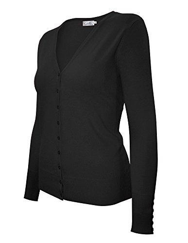 Cielo Women's Knit Silk Soft Cardigan Sweater, V-Neck (Extra Large, SW205 Black)
