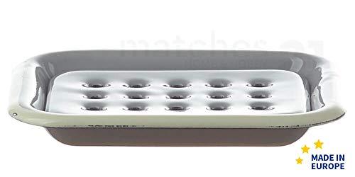 matches21 Email Seifenunterlage rechteckig/Retro Emaille Seifenschale zum Stellen grau 13 x 10 x 2 cm