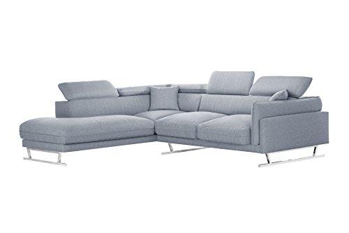 Canapé d'angle 6 places Gris Tissu Luxe
