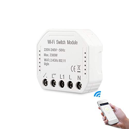 Btuty Interruptor de luz inteligente con wifi, módulo DIY Breaker con aplicación, mando a distancia