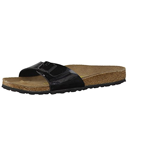 Birkenstock Schuhe Madrid Birko-Flor Lack Schmal Black (040303) 37 Schwarz
