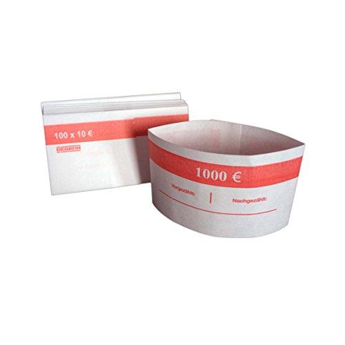 1000 Stück Geldbanderole Papier für: 100 x 10 € rot, Banderolen für Euro Geldscheine