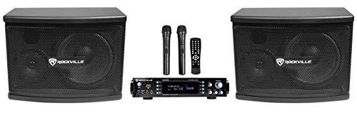 "Rockville RPA70WBT Bluetooth Karaoke Amplifier/Mixer+(2) Mics+(2) 6.5"" Speakers"