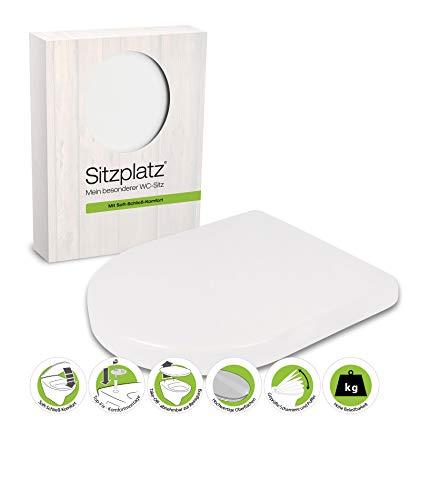 SITZPLATZ® WC-Sitz mit Absenkautomatik, Deluxe in Weiß, antibakterieller Duroplast Toilettensitz, Top-Fix Befestigung von oben, abnehmbar, Edelstahl-Scharniere, D Form, 40131 9