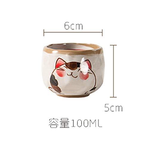 LINWX Japanische Teesets Kleine Tassen Handbemalte Kungfu-Teesets Haushaltskeramik Einzelbecher Unterglasur Bunter Teebecher, Katzenbecher, 100 ml