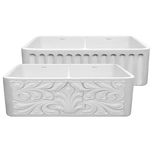 Whitehaus Collection Whitehaus WHFLGO3318-WHITE Home Indoor Farmhouse Kitchen Bathroom Gothichaus Reversible Series Fireclay Double Bowl Sink with A Gothic Swirl Design Front Apron, White