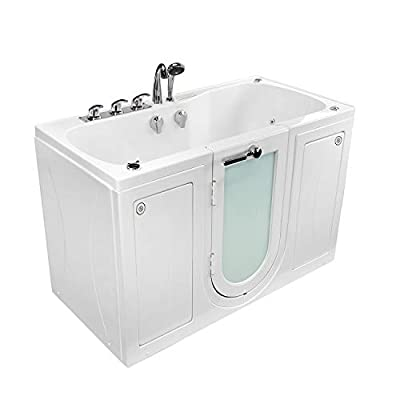 """Ella O2SA3060 Tub4Two Acrylic Hydro Massage Outward Swing Door Walk-in Bathtub with in-Line Water Heater, Two Seats, Center Dual 2"""" Drains, 31"""" x 60"""", White"""